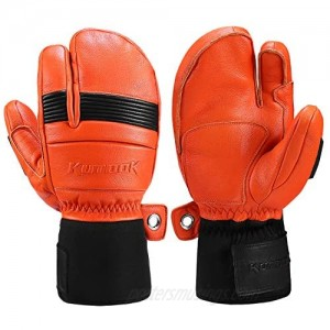 KUTOOK Ski Mittens with HIPORA Waterproof Membrane Goat Leather Gloves for Skiing Outdoor