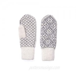 Wool Mittens with Scandinavian Ornament Warm Winter Mittens for Cold Weather Gloves Knitted of Natural Wool with Goat Wool Size Men's M Women's L