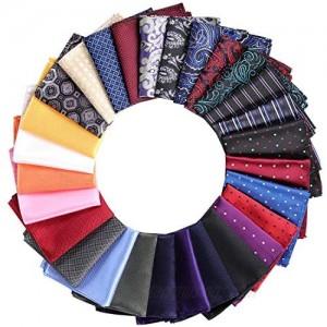 28 Pack Pocket Squares for Men Men's Handkerchief Mens Pocket Squares Set Assorted Colors with a Holder