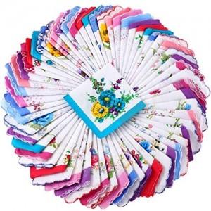 30 Pieces Ladies Hankies Women Floral Handkerchiefs Soft Handkerchiefs Embroidery Vintage Handkerchiefs