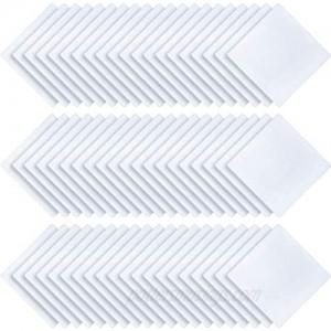 60 Pieces White Handkerchief Classic Hankies Pocket Square Towel Hankies Towel Pocket Hanky DIY Bride Wedding Hankies