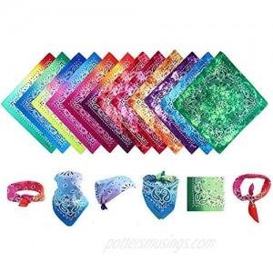 "Bandana 12-Pack 100% Cotton Face Cover Handkerchief for Men and Women Unisex (22"" X 22)"