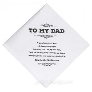 CQNET Dad Wedding Gift White Cotton Keepsake Hankie Wedding Handkerchief Gift