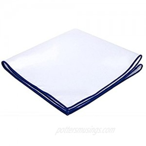 D&L Menswear White Linen Pocket Square with Royal Blue Embroidered Edge