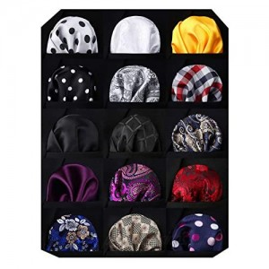 HISDERN 15 Pack Mens Pocket Squares Handkerchiefs Set Assorted Colors for Wedding Party With Gift Box