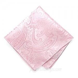 TieMart Pale Pink Clara Paisley Pocket Square