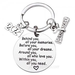 CDLong Class of 2021 Graduation Keychain - Senior 2021 Graduation Gifts for Her/Him  Inspirational Gifts for College Graduation / High School Graduation  Made of Stainless Steel