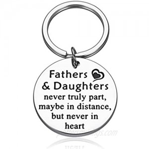 Father Daughter Keychain Fathers Day Birthday Gifts from Daughter to Dad His Girls for Wedding Christmas Valentine Present for Men Stepdad Fathers and Daughters Never Truly Part Keyring