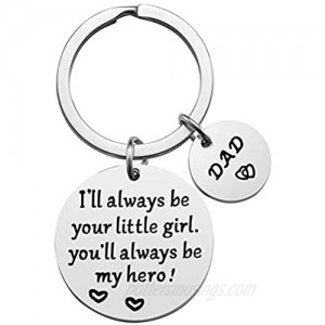 Father's Day Gift - Dad Gifts from Daughter for Birthday Christmas  I'll Always Be Your Little Girl  You Will Always Be My Hero Keychain  Dad Valentine's Day Gifts  Father Daughter Gifts