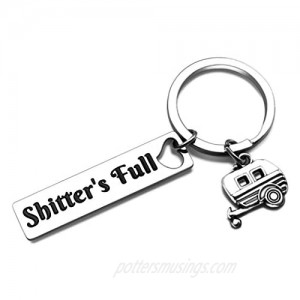Shtter's Full Funny Keychain Gift Happy Camper RV Camping gifts Accessories for Inside Women Men for Jeep Owner Accessories Enthusiasts Wave Key Ring Trailer Christmas Vacation Jewelry