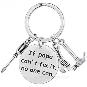 XGAKWD Father's Day Gifts for Papa Step Dad  If Papa Can't Fix It No One Can  Christmas Birthday Keychain for Father