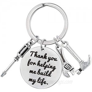 XGAKWD Fathers Day Keychain from Daughter Son  Wedding Birthday Keychain Gift for Step Dad Papa  Thank You for Helping Me Build My Life
