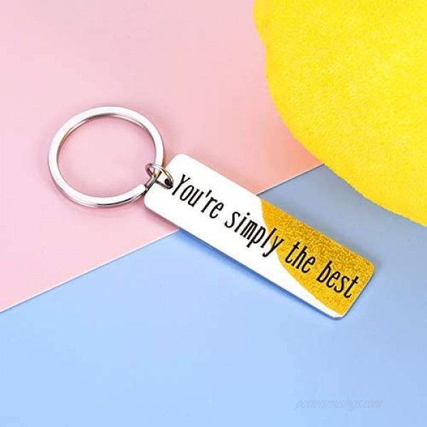 You're Simply The Best Keychain Anniversary Wedding Gifts for Women Men Birthday Valentines Day Keyring for Best Friend Schitts C Fans Couple Gifts for Boyfriend Girlfriend Husband Wife Christmas