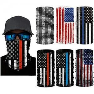 6 Pcs USA Flag Face Masks Headwear  Unisex Face Cover Shield Bandanas Balaclavas