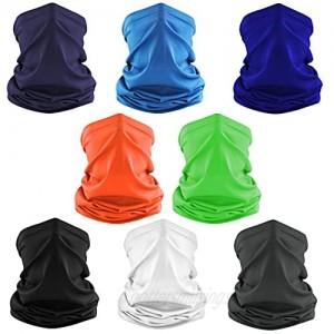 8 Pcs Cooling Neck Gaiter Breathable Face Cover Sun UV Protection Balaclava Bandana Scarf for Men Women