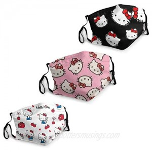 Adults Hello Kitty Face Mask 3pcs Cute Mouth Mask with 6 Filter Reusable Cloth Face Cover Washable Dust Mask Bandana Unisex