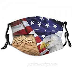 American Flag Patriotic Usa Bald Eagle And Book Face Mask With Filter Pocket Washable Reusable Face Bandanas Balaclava With 2 Pcs Filters
