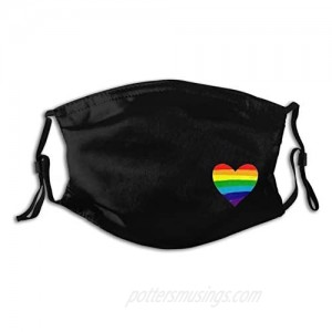Rainbow Pulse Hearbeat Lgbt Face Mask Unisex Balaclava Mouth Cover With Filter Windproof Dustproof Adjustable