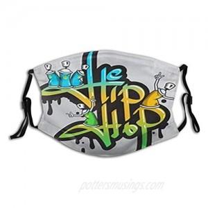 Rock Rap Hip Hop Face Mask Reusable Washable Balaclava with 2 Pcs Filters