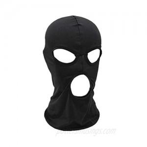 WIN Balaclava Mask Thin Lycra Three Holes Full Face Mask for Motorcycle Bike Hunting Cycling Cap Ski Black One Size