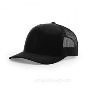 Richardson Unisex 112 Trucker Adjustable Snapback Baseball Cap  Solid Black  One Size Fits Most