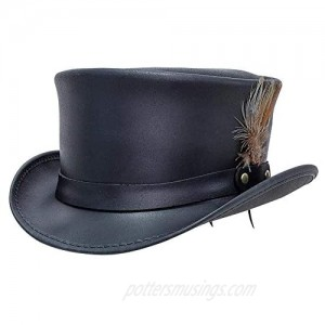 American Hat Makers Marlow Leather Top Hat with LT Band — Handcrafted  Genuine Leather  Highly Durable