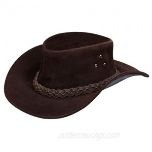 Australian Unisex Western Style Cowboy Outback Real Suede Leather Aussie Bush Hat