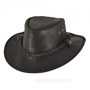 BULLHIDE Cessnock Genuine Leather Western Cowboy Hat 3 Brim Black