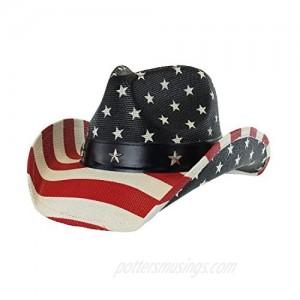 Men's Western Style Shapeable Cowboy Hat - USA American Flag Patriotic America