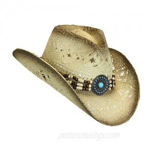 Western Toyo Straw Cowboy Hat  Shapeable w/  Natural Tea Stain  Size One Size
