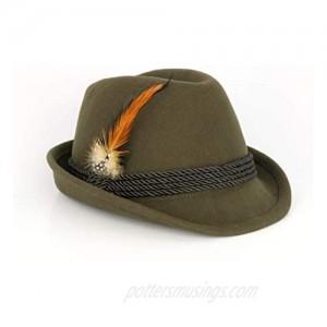 Alpine Fedora Dark Green - Oktoberfest Holiday Hat - Adult XL (7 5/8 to 7 3/4) St. Patrick's Day