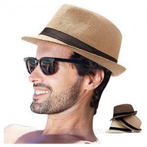LADYBRO Mens Fedora Hats for Men - Fedora Hat Panama Hat Straw Hat Trilby Hat Summer Hat (Pack of 3)