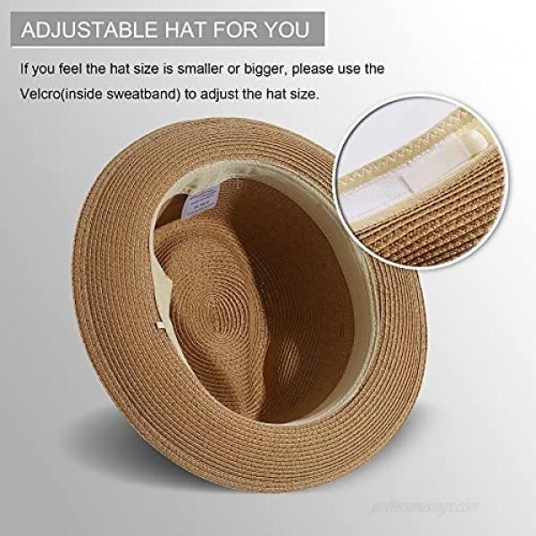 Lanzom Men Women Straw Foldable Roll up Hat Fine Braid Fedora Summer Beach Sun Hat