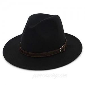 Lisianthus Men & Women Fedora Hat - Belt Buckle Wide Brim Panama Hat