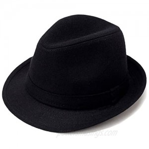 Men's Classic Manhattan Structured Gangster Trilby Fedora Hat with Band