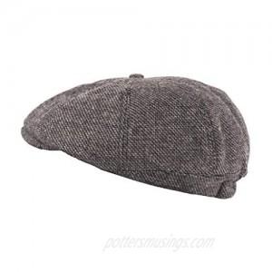 Heritage Traditions Mens Wool Tweed Panel Peak Newsboy Cap Hat