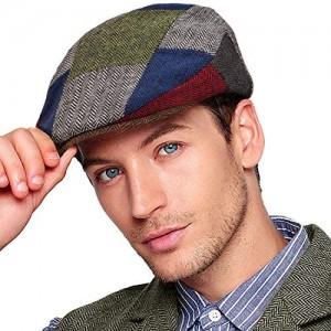 Men Ivy Gatsby Newsboy Cap - Classic Wool Blend Tweed Flat Cap Cabbie Hat Men