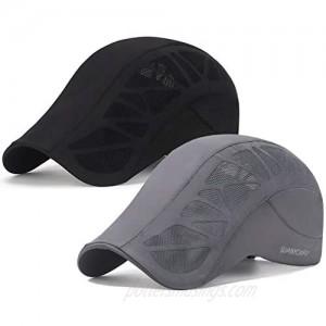 Rcber 2 Pack Men Breathable Mesh Summer Hat Newsboy Beret Ivy Cap Cabbie Flat Cap