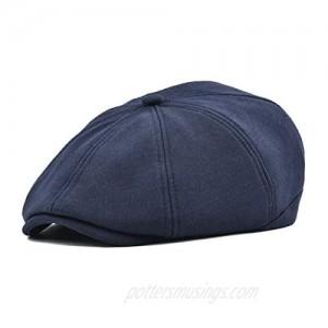 VOBOOM Men Newsboy Cap 8 Panel Cotton Flat Ivy Gatsby Driving Hat