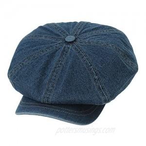 WITHMOONS Baker Boy Flat Cap Stitchy Beret Washed Denim Jean Hat DW3834