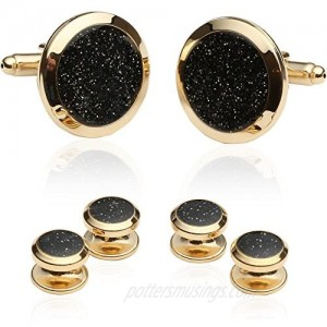 Cuff-Daddy Mens Black Diamond Dust Gold Cufflinks and Studs Cuff Links with Jewelry Presentation Box Shirt Accessories Special Occasions Boys Cufflinks for Wedding Party