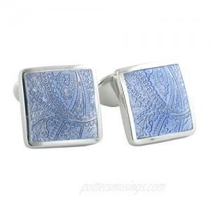 David Donahue Light Blue Paisley Cuff Links