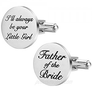 Dec.bells Jewellery Cufflink I Will Always Be Your Little Girl Dad Father Tie Bar Mens Wedding Father of The Bride Gifts