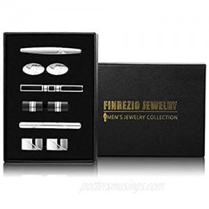 Finrezio 9 PCS Mens Tie Clips and Cufflink Set for Men Necktie Tie Bar Clips Wedding Business Accessories with Gift Box