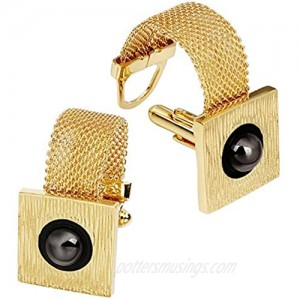 HAWSON Mens Cufflinks with Chain - Stone and Shiny Gold Tone Shirt Accessories - Party Gifts for Young Men