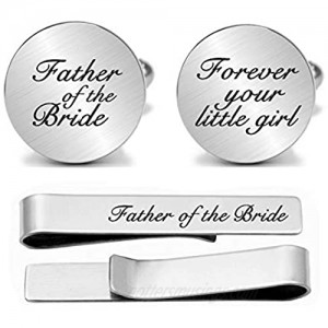 JUPPE Father of The Bride Cuff Links Tie Bar Set Personalized Wedding Cufflinks Gift for Dad Groom Father Husband