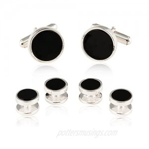 Mens Sterling Silver Black Onyx Cufflinks and Studs Formal Set with Presentation Gift Box Solid 925 Wedding Party Tuxedo Suit Shirts
