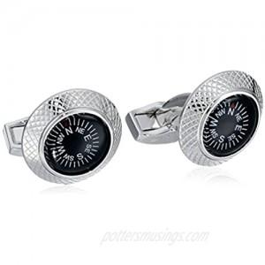 Tateossian Men's Mechanical Black Compass Cufflinks