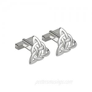 Trinity Knot Cufflinks Rhodium Plated Made in Ireland
