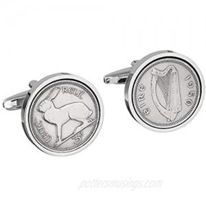 Worldcoincufflinks Cufflinks Rhodium Plated 1950 Irish Threepence Coin Cufflinks 71st Birthday